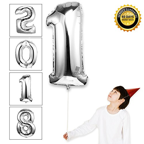 Homemade Disco Halloween Costumes For Women (Takefubs 40 Inch Giant Jumbo Helium Foil Mylar Balloons Single Silver Alphabet Aluminum Hang Letter Balloons For Birthday Party Decorations,Glossy Silver,Letter 1)