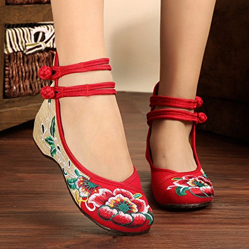 15X Shoes Dance Women 25red Embroidered Shoes Hw7IIq