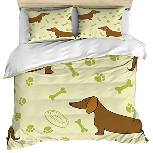 Dog Lover 3 Piece Bedding Set Comforter Cover King Size, Dachshunds Paw Print Bones Playful Pattern, 3 pcs Duvet Cover Set Bedspread Daybed with Zipper Closure for Childrens/Kids/Teens/Adults