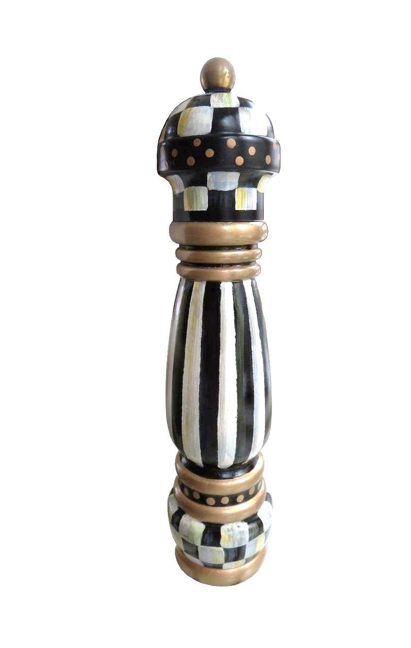 Mackenzie Childs COURTLY CHECK Brand New Wood HAND PAINTED 10'' PEPPER MILL NEW by MacKenzie-Childs