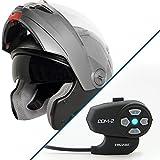 Hawk ST-1198 Transition 2 in 1 Gun Metal Modular Helmet with Hawk COM-2 Bluetoo - X-Large w/ COM-2 Intercom