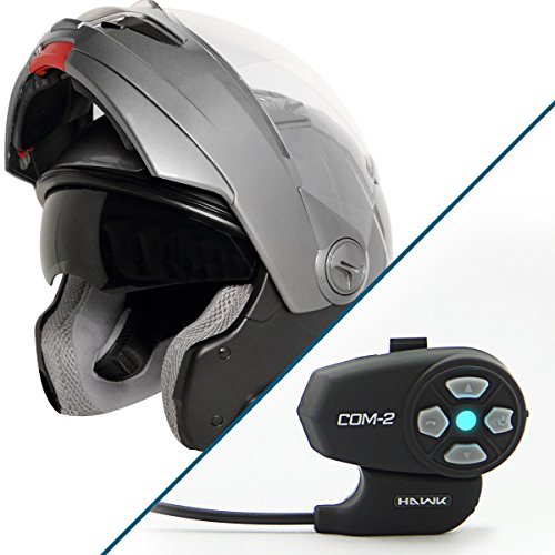 Hawk ST-1198 Transition 2 in 1 Gun Metal Modular Helmet with Hawk COM-2 Bluetoo - X-Large w/ COM-2 Intercom