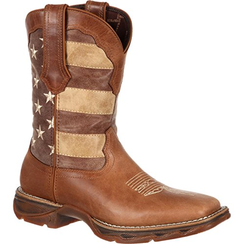 (Durango Women's DRD0107 Western Boot, Brown/Faded Union Flag, 9 M US)