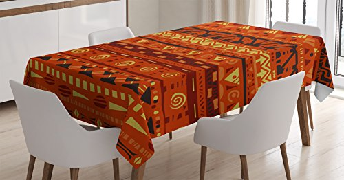 Ambesonne Tribal Tablecloth, Antique African Folkloric Motifs Geometric Tribal Art Ornaments Illustration, Dining Room Kitchen Rectangular Table Cover, 60 W X 84 L Inches, Orange Yellow ()