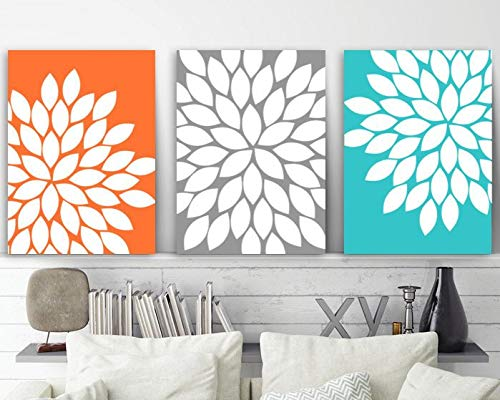 Flower Wall Art Orange Gray Turquoise Floral Bedroom Wall Decor Canvas or Print Floral Bathroom Decor Flower Burst Petals Set of 3 8x10 inch