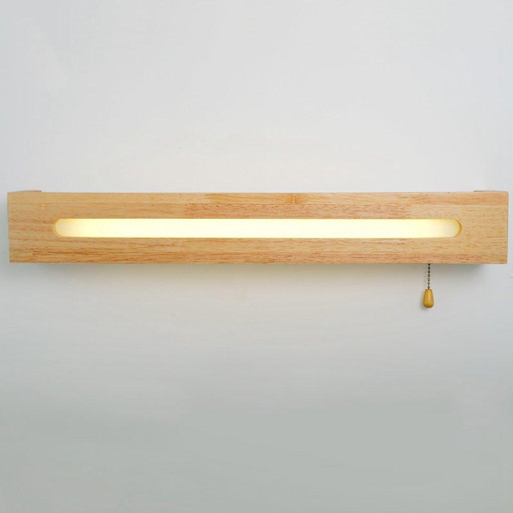 Einfache Badezimmer Spiegel Front Ligh, Badezimmer Massivholz Spiegel Scheinwerfer Schlafzimmer Nacht LED Kabel Schalter Wandleuchte (Farbe   weißes Licht-55cm)