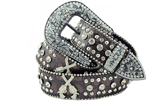 DF Western Cowgirl Six-Shooter Bling Rhinestone Belt Dark (Bling Belt Buckle)