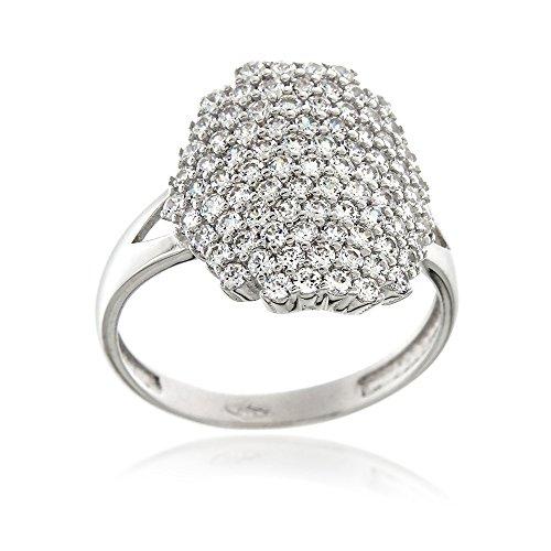 Pave Italian (Gioiello Italiano - 18kt white gold ring with zircons pavé)