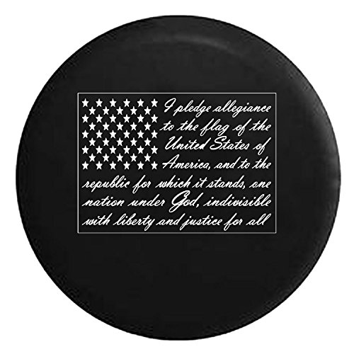 (Pledge of Allegiance - United States Patriotic Flag Spare Jeep Wrangler Camper SUV Tire Cover White Ink 30 in)