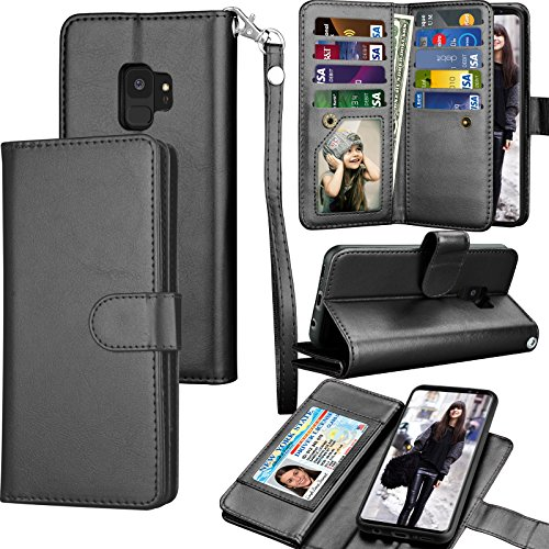 Tekcoo Compatible for Galaxy S9 Wallet Case/Samsung Galaxy S9 PU Leather Case, Luxury ID Cash Credit Card Slots Holder Carrying Folio Flip Cover [Detachable Magnetic Hard Case] & Kickstand -Black
