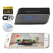 Wifi Alarm Clock Camera,Nanny Cam with Motion Activated Video and Audio Recording for Home Security & Surveillance Support IOS Android Smartphone APP SW08