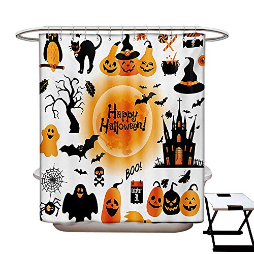 Halloween Shower Curtains Waterproof All Hallows Day Objects Haunted House Owl and Trick or Treat Candy Black Cat Fabric Bathroom Decor Set with Hooks W69 x L75 Orange Black for $<!--$36.50-->
