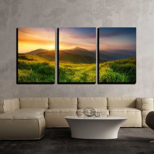 Mountain Valley During Sunrise Natural Summer Landscape x3 Panels