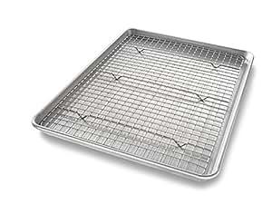 USA Pan 1606CR Half Sheet Baking Pan and Bakeable Nonstick Cooling Rack, Metal