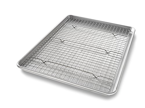(USA Pan 1606CR Half Sheet Baking Pan and Bakeable Nonstick Cooling Rack)