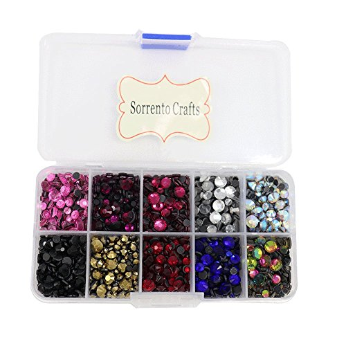 Rhinestones Loose (5000pcs/box,500pcs/color Mixed 10 Colors Mixed Sizes Glass Rhinstones Flatback Hot Fix Stones)