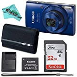 Canon PowerShot ELPH 190 Digital Camera (Blue) with 32GB Memory + CANON PSC-2070 CASE + DigitalAndMore Microfiber Cloth