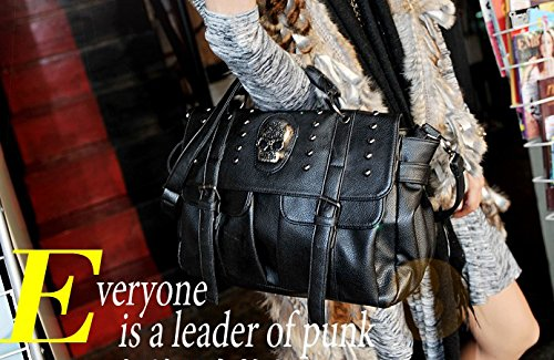 Bag Purse Style Satchel Black Shoulder Handbag Punk Hobo Women Tote Pu Motorcycle Qflmy Skull Leather Bags Xqxgv6Z