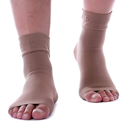 Doc Miller Plantar Fasciitis Socks Medical Grade Compression Foot Sleeves - Ankle Arch & Heel Support Achilles Tendon Support, Heel Spurs Tendonitis, Joint Pain Eases Swelling (Tan Skin, Medium)