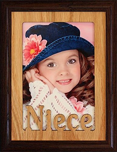 JoyceBoyce.com 5x7 Niece ~ Portrait Oak Mat with Picture Frame ~ Holds a 4x6 or Cropped 5x7 Photo ~ Wonderful Keepsake Gift for a Proud Uncle or Aunt (Walnut) - Oak Frame Holds