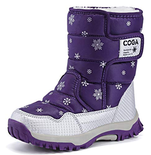 Price comparison product image DADAWEN Boy's Girl's Outdoor Waterproof Cold Weather Snow Boots(Toddler / Little Kid / Big Kid) Purple US Size 5 M Big Kid