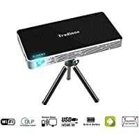 Tradinno Mini Smart Portable Projector, HD DLP Pico Home Theater Video Wireless 1080P Pocket Projector Support HDMI, USB, TF Card, WIFI, Wireless, VGA, AV