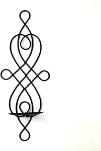 Wall Candle Holder, Elegant Swirling Iron Hanging Wall Mounted Decorative Candle Sconce for Living Room Home Decorations, Wall Sconces Decor(Black)