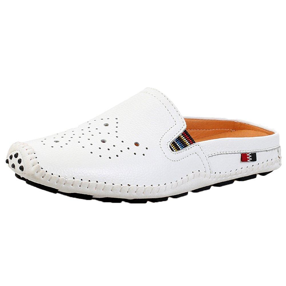 Santimon Men's Carved Hollowed Slide Sandals Skidproof Slipper Leather Loafers White 9.5 D(M) US