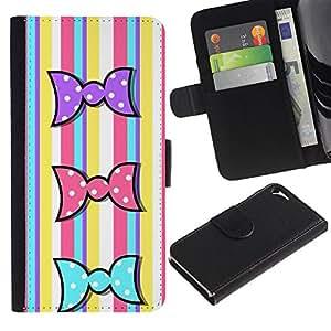 KLONGSHOP / Tirón de la caja Cartera de cuero con ranuras para tarjetas - Colorful Candy Lines Yellow Easter - Apple iPhone 5 / 5S