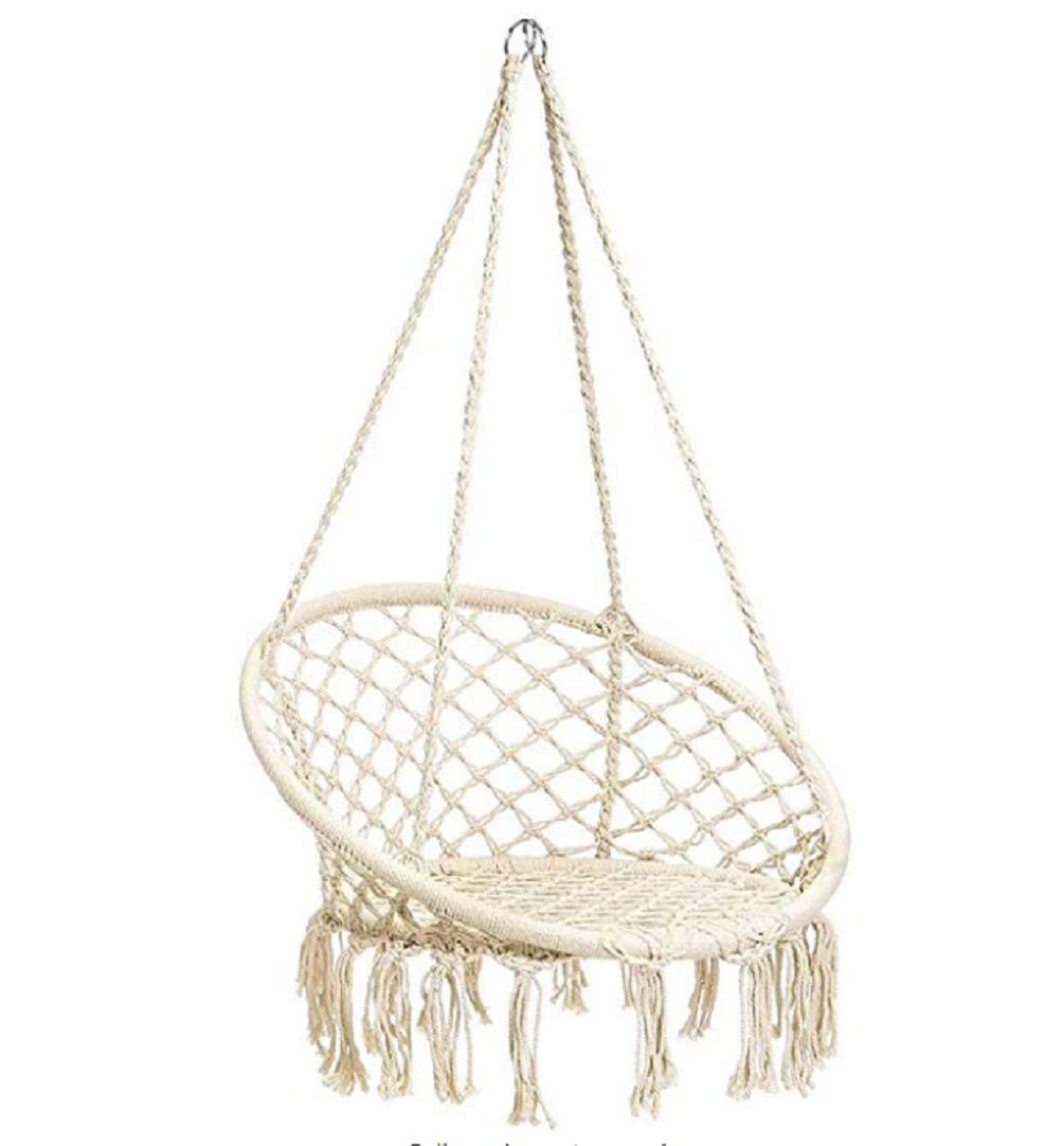 Hammock Chair Handwoven Cotton Rope Macrame Rope Hammock Lounge Swing Chair Fringe Tassels 265lbs Capacity Perfect for Indoor Outdoor Home Patio Deck Yard Garden Baby Room Decoration