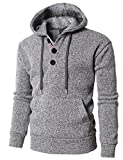H2H Mens Casual Thermal Pullover Hoodie With Fleece Lining Gray US L/Asia XL