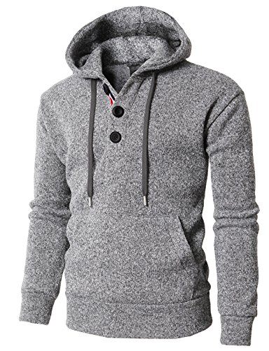 Grey Wool Henley Sweater - H2H Mens Casual Basic Knitted Turtleneck Slim Fit Pullover Thermal Sweaters Hoodie Gray US M/Asia L (KMOHOL0127)