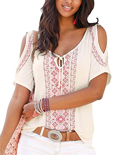 (Ecrocoo Women Short Sleeve Tops Summer Open Cold Shoulder Boho Print Blouse Shirts Tee White XL)