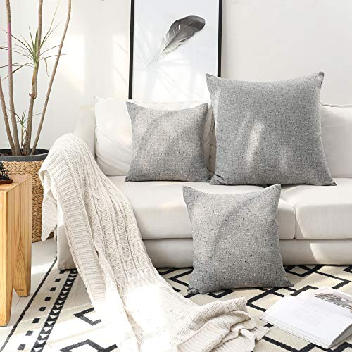 Kevin Textile Decor Lined Linen Decorative Throw Cushion Cover Euro Pillow Sham for Sofa/Bed, 26x26 inches, Ash Grey