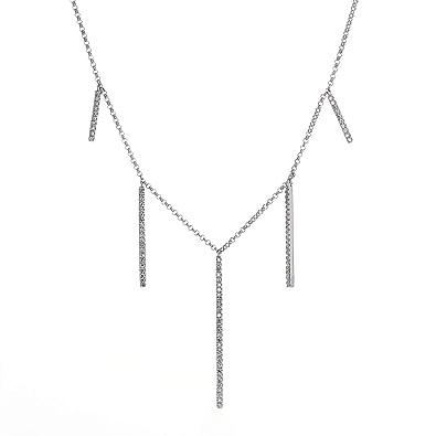 4f3cd798f1587 Amazon.com: COODI Jewelry 14K Solid Gold 0.24 CTW Graduated Bar ...