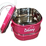 LunchPal® Stainless Steel Bento Box 2 Compartment Stackable Lunch Box in Pink Reusable and Leak Proof Food Container Perfect for Healthy Eating & Food Portion Control BPA FREE