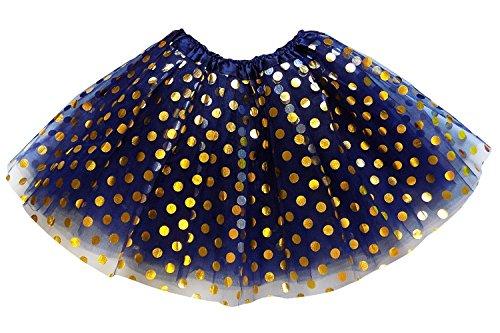 So Sydney Kids, Adult, or Plus Size Gold Polka DOT Tutu Skirt Halloween Costume (M (Kid Size), Navy Blue) ()