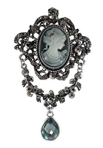Bejeweled Christmas Large Elegant Cameo Filigree Drop Pin Brooch (Bejeweled Filigree)