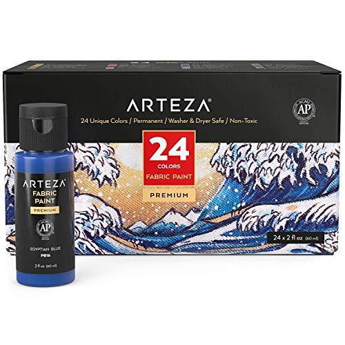 Arteza Permanent Fabric Paint, 60 ml Bottles, Set of 24 Colors, Washer & Dryer Safe, Textile Paint for Clothes, T-Shirts, Jeans, Bags, Shoes, DIY Projects & Canvas