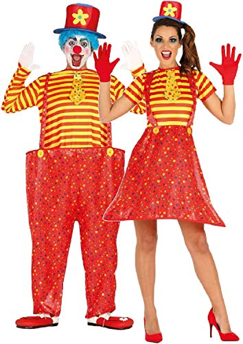 Couples Ladies and Mens Crazy Comedy Bright Clown Circus Carnival Halloween Fancy Dress Costumes Outfits (Ladies UK 12-14 - Mens Large) for $<!--$49.35-->