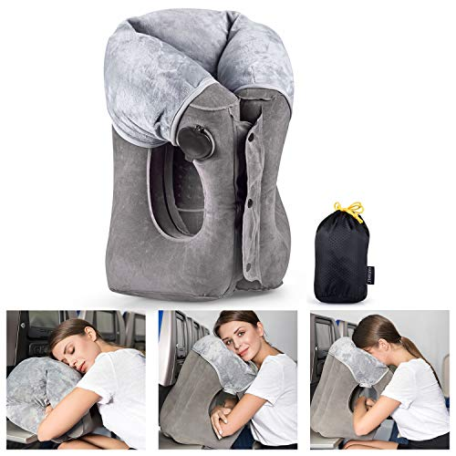 Inflatable Travel Pillow Upgraded Airplane Pillow Head and Neck Rest Pillow for Journey Easy to Inflate and Deflate…