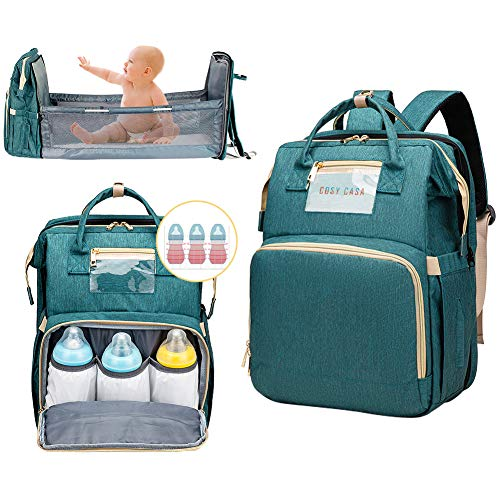 Cosy Casa Baby Travel Diaper Bag Backpack With Bassinet Changing Mat Changing Station,Folding Crib Bag Foldable Mommy Bag For Baby Girl Boy Infant Mom Diaper-Bag-Backpack-Baby-Travel(Green)