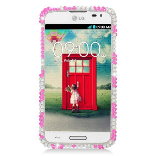 Eagle Cell LG L70 Diamond Protective Cover - Retail Packaging - Pink Zebra