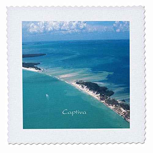 3dRose qs_204911_1 Print of Aerial View of Captiva Island Florida Quilt Square, 10 by 10