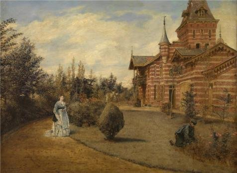 Perfect Effect Canvas ,the Reproductions Art Decorative Canvas Prints Of Oil Painting 'Henri De Braekeleer - The Country House Of Gustave Couteaux,19th Century', 10x14 Inch / 25x35 Cm Is Best For Gym Decoration And Home Artwork And Gifts ()