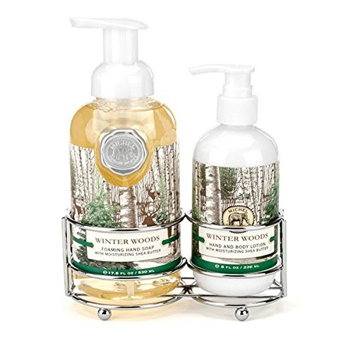 Michel Design Works Scented Foaming Hand Soap and Lotion Caddy Gift Set, Winter Woods ()