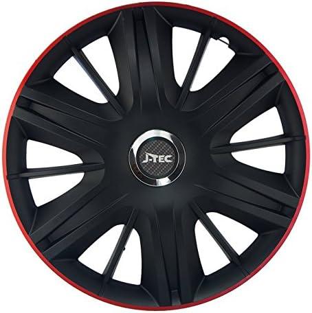 CM DESIGN 4 x 15 Zoll Maximus GTR schwarz rot Auto-Radkappen Radzierblenden