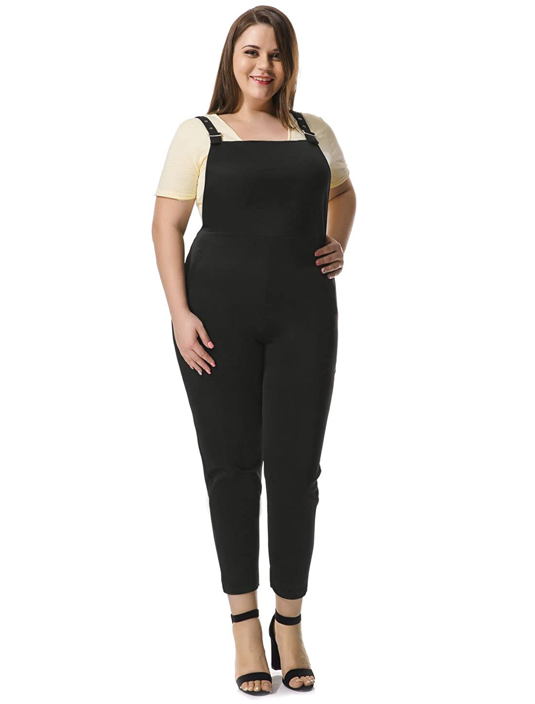 Allegra K Women's Plus Size Overalls w Double Side Pockets