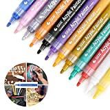 Acrylic Paint Markers Pen,12 Colors Premium Paint Pens for Painting on Rock, Glass, Canvas, Metal, Wood, Ceramic, Easter Egg, DIY Craft Projects