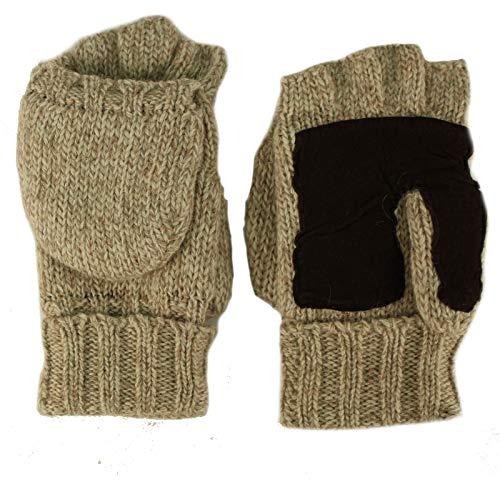 Men's Thinsulate 3M Thick Wool Knitted Half Mitten Suede Palm Gloves L/XL Beige